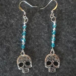 Jewelry - Sugar Skull charm Earrings w/Aqua & silver beads